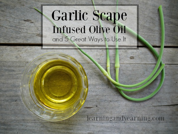 Garlic Scape Infused Olive Oil and 5 Great Ways to Use It
