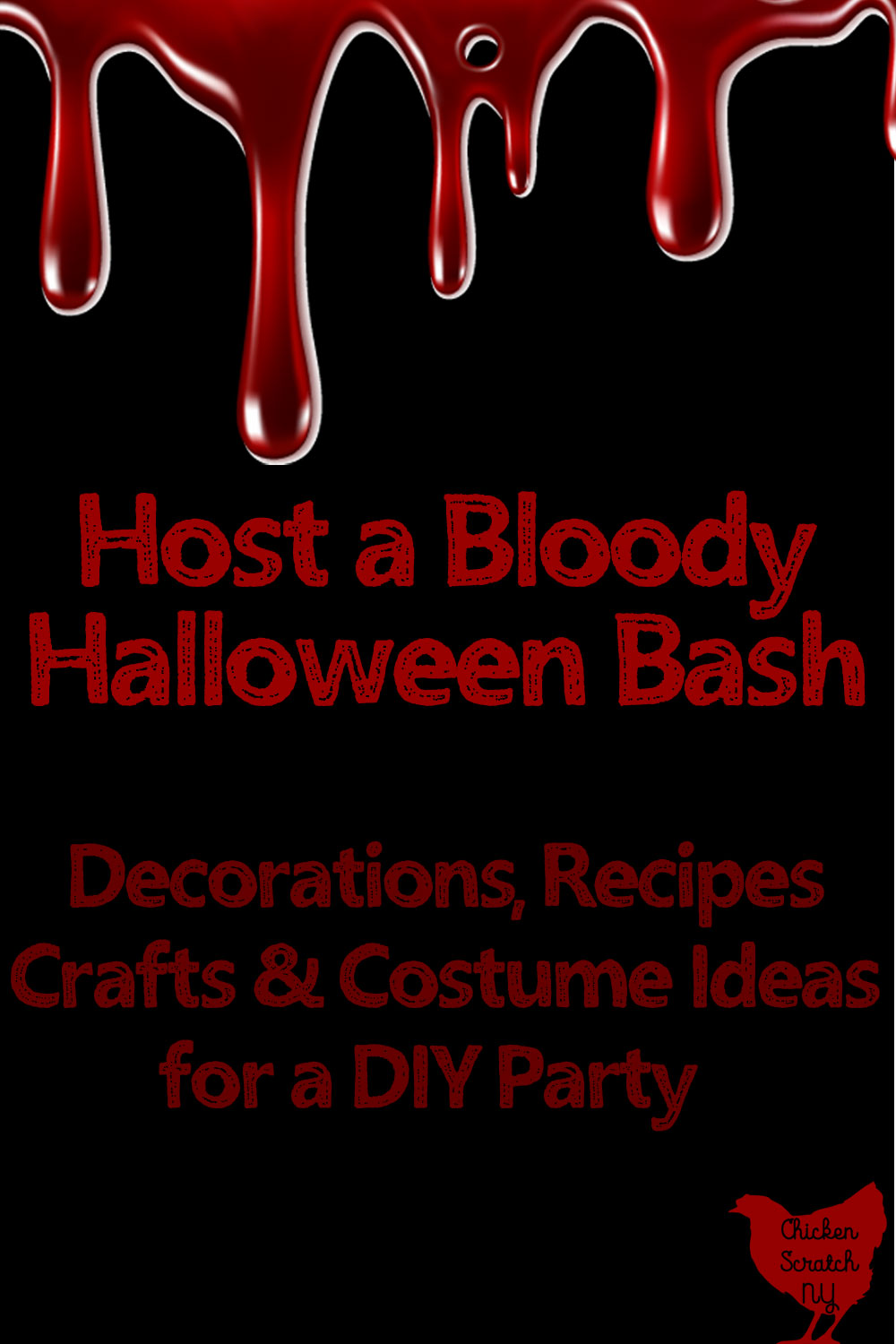 blood drip border over a black background with text Host a bloody Halloween bash DIY ideas for an adult Halloween party