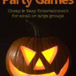 glowing jack o lantern face with text overlay Halloween Party Games