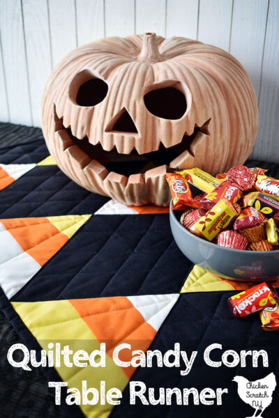 60 degree ruler quilted candy corn Halloween table runner decoration