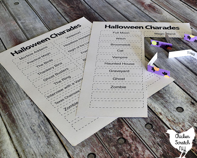 Halloween Charades game for a party printed on cardstock