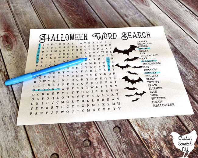 difficult printable Halloween word search with blue highlighter