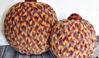 chenille yarn covered pumpkins