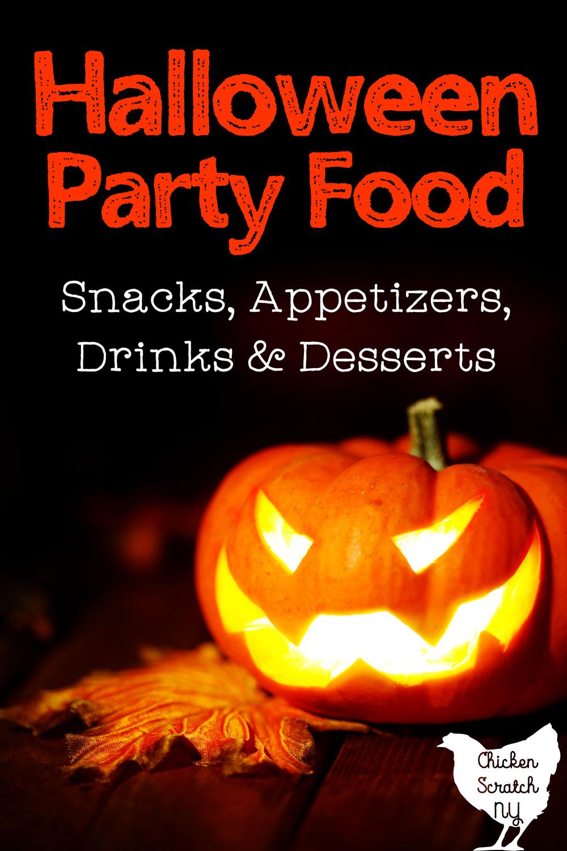 illuminated jack-o-lantern with text overlay Halloween Party Food