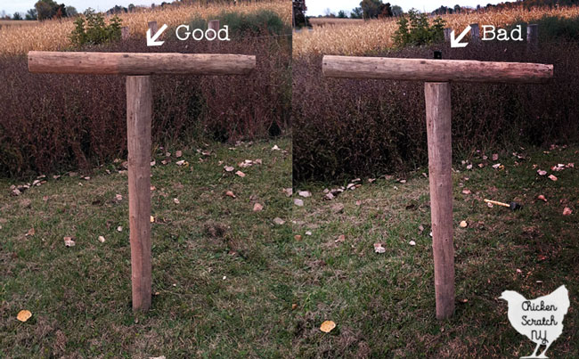 side by side image showing the difference between the correct post placement and incorrect when making a spooky Halloween scarecrow