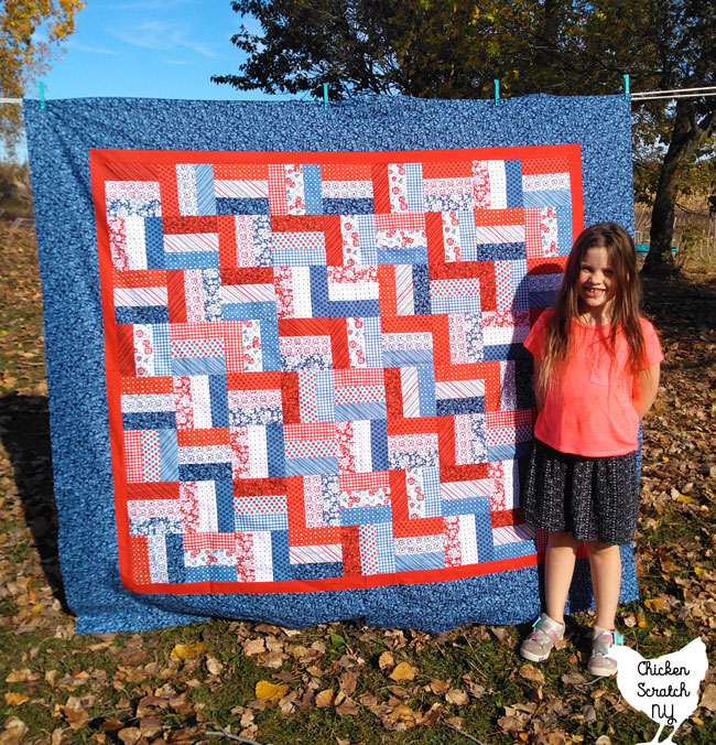 red white and blue jelly roll rail fence quilt