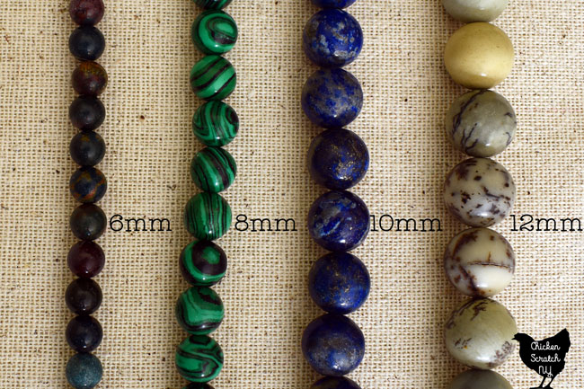 different natural stone bead sizes