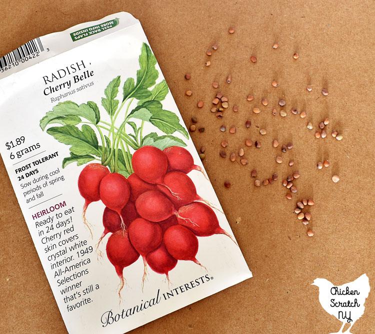 package of radish seeds
