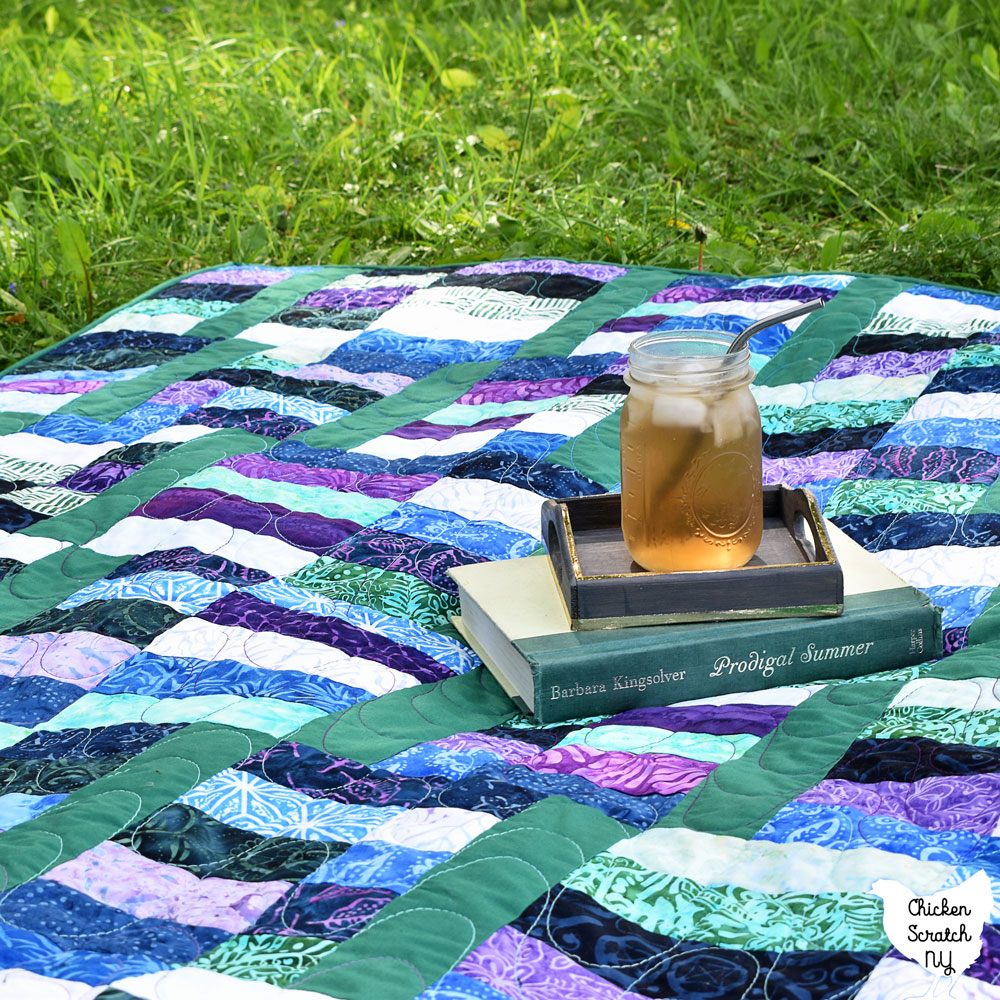 jelly waves quilt pattern sewn with batik jelly roll strips