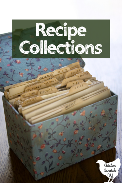 """old fashioned recipe box with text overlay """"recipe Collections"""""""