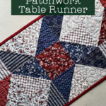 top view of center block of patchwork table runner made from HST in red, white and blue