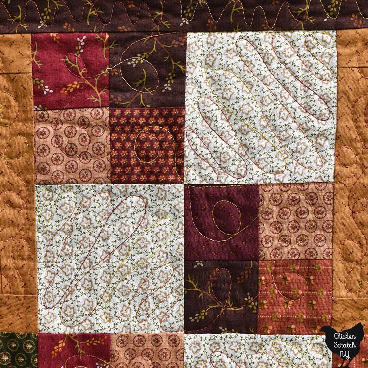 four patch blocks in fall fabrics