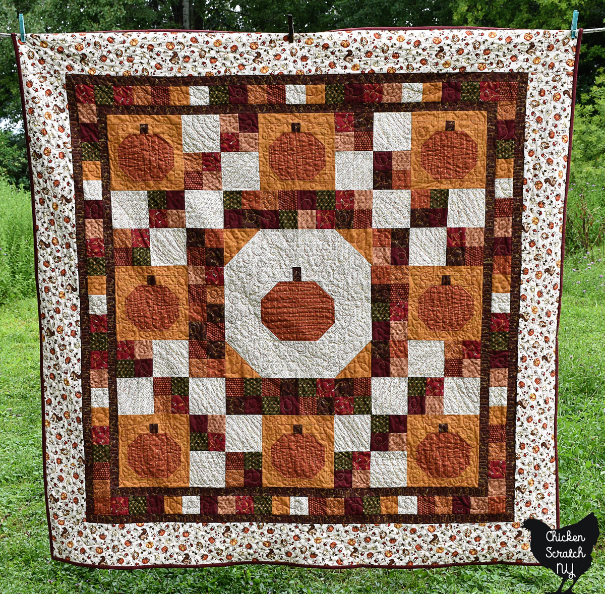 pumpkin lattice quilt made with Hello Fall Fabrics from Henry Glass