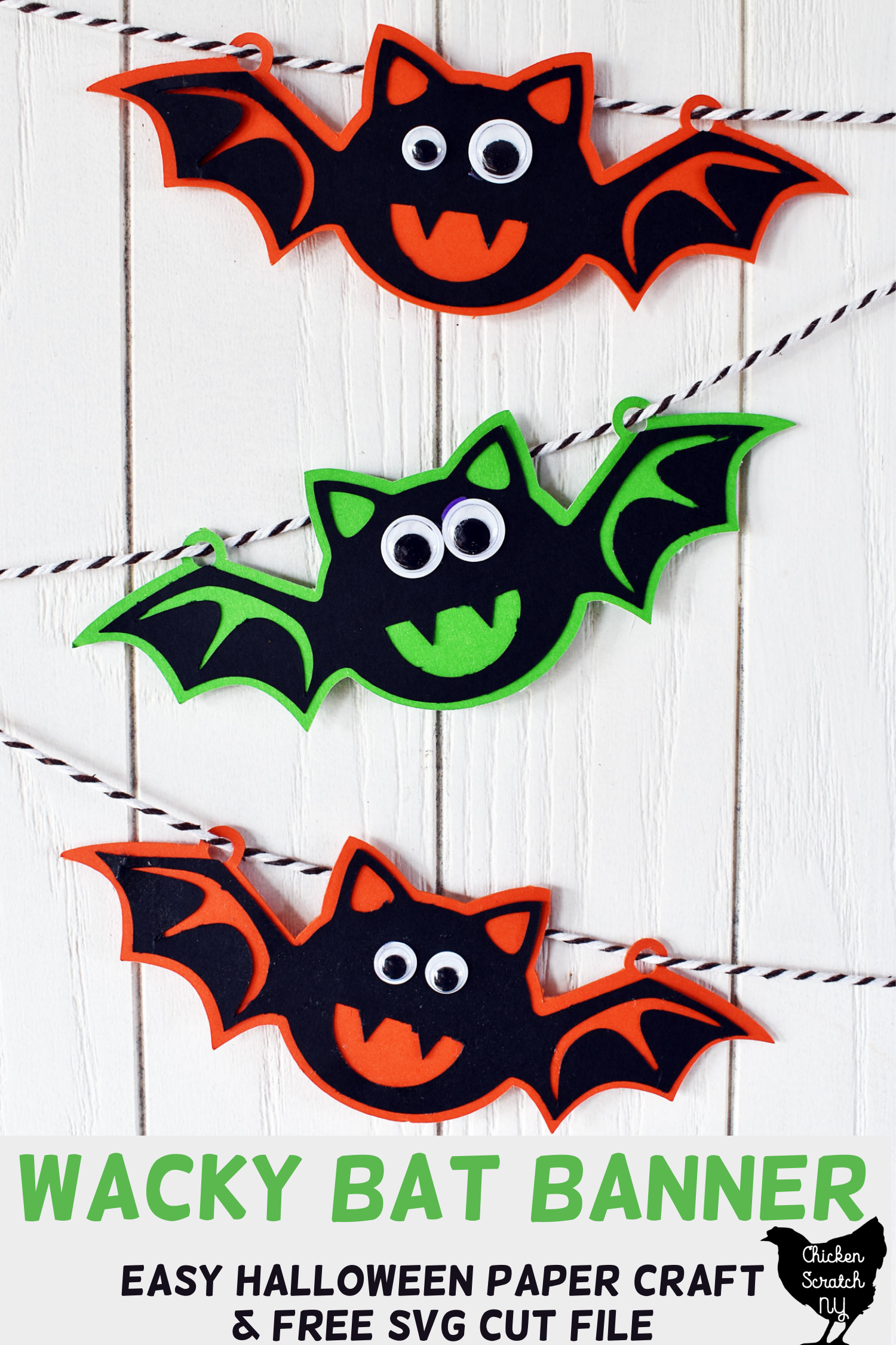 three paper bats with googly eyeson a bakers twine garland