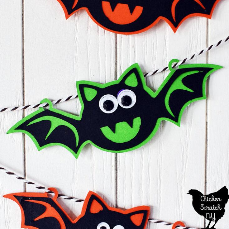 close up view of bat from paper Halloween bat banner