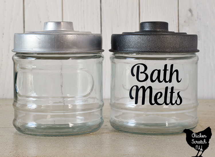 """glass jar from the dollar tree with a painted lid and a vinyl label for """"Bath Melts"""""""
