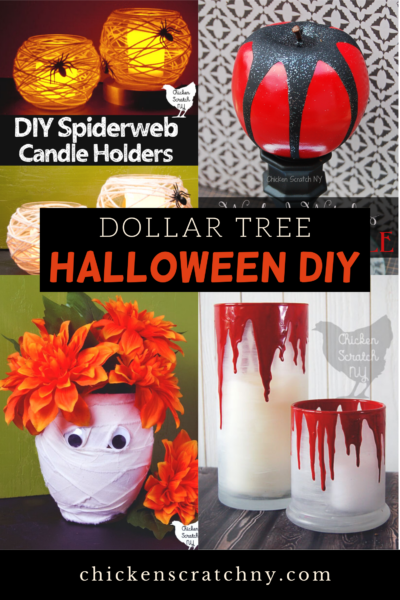 four DIY halloween decorations made from Dollar Tree supplies