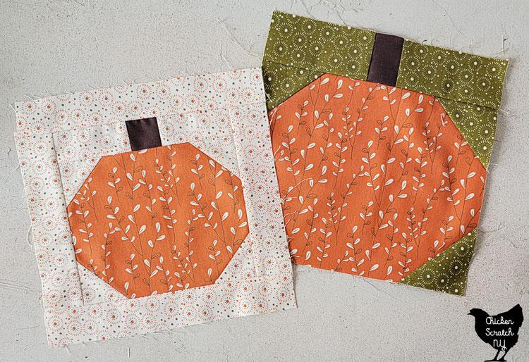 pumpkin quilt blocks in Adel in Autumn Fabric