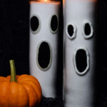 two dollar tree prayer candles turned into glow in the dark ghosts with tulip glow in the dark paint