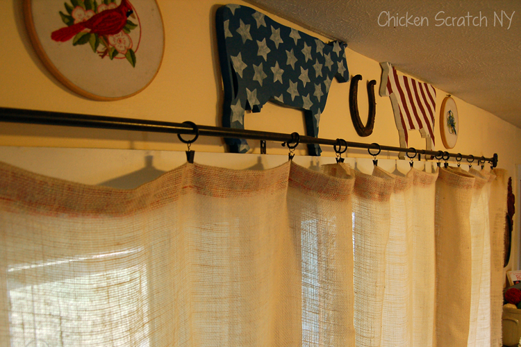 burlap curtains farm decor